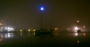 The view from Ave del Mar as the fog fell onto Back Creek in Annapolis, Maryland. 11/05/15