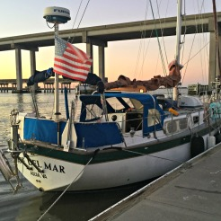 Ave del Mar safely tied off to the Jekyll Island Marina dock